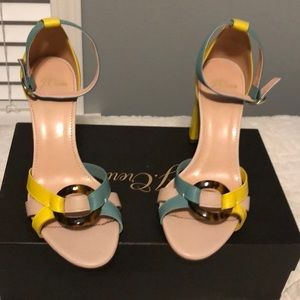 Colorful ankle strap heels
